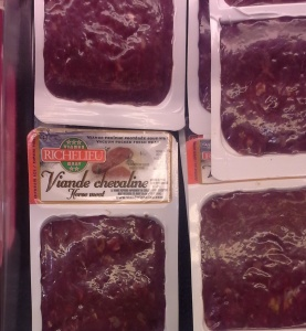 Horsemeat on the shelf at an IGA in Quebec. The meat is from the Richelieu plant in Quebec.