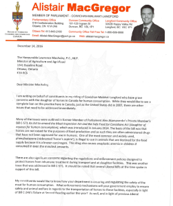 MP Alistair MacGregor Asks Minister Of Agriculture For Response On